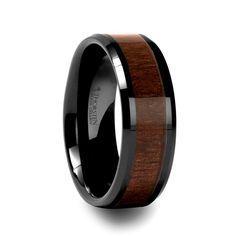 men's wedding bands with wood inlay | ... Mens MILOSZ Beveled Black Ceramic Ring with Black Walnut Wood Inlay