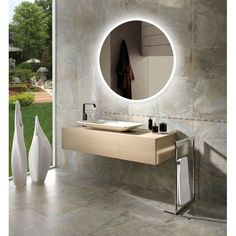 """Innoci-USA Round/ Oval Electric LED Mirror (Round 24Wx24""""Hx1.2""""D), Silver aluminum"""