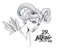 29. Inktober 2016 – Hörner Horns, Succubus, Mythologie, Feather, Woman