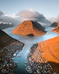 Sunset at Klaksvík, the fishing capital of the Faroe Island Landscape Photos, Landscape Photography, Places Around The World, Around The Worlds, Beautiful World, Beautiful Places, Places To Travel, Places To Go, Visit Faroe Islands