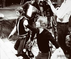 Mark and Harrison goofing off during A New Hope