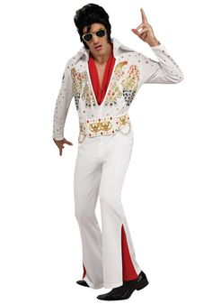 Deluxe Elvis Presley Costume features a classic white jumpsuit with bead details. This Elvis Costume comes with eagle designs, slit bell-bottom legs, and attached ornate belt. Costume Shop, Costume Dress, Disfraz Elvis Presley, Elvis Presley Halloween Costume, Halloween Men, Halloween Costumes, Halloween Ideas, Family Halloween, Costume Christmas