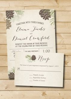 Rustic Pinecone Fall Winter Wedding by FreshPickedPaperie on Etsy