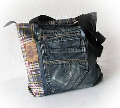 Denim bag Jeans bag Patchwork bag Handmade bag Recycled jeans