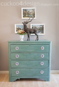 CeCe Caldwell Destin Golf Green Chalk Paint Dresser Makeover - Cuckoo4Design
