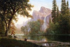 "Albert Bierstadt, The Artist Sketching in Yosemite Valley, 1863, oil on board, 13-3/4"" x 19-3/4"""