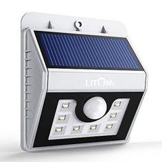 8 LED Lampe Solaire Murale, Litom Luminaire Extérieur Sans Fil Détecteur de Mouvement, Eclairage de Sécurité pour Jardin,Escalier…