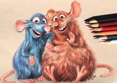 """840 Likes, 27 Comments - Julia Mann (@juliamannart) on Instagram: """"Finished Remi and Emile :) Done with prismacolor pencils on toned tan paper. . . #ratatouille…"""" ratatouille"""