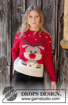 Red nose jumper / DROPS - free knitting patterns by DROPS design Knitted sweater in DROPS Nepal. The piece is worked top down with a raglan and reindeer motif. Sizes S - XXXL. Knitting Patterns Boys, Jumper Knitting Pattern, Jumper Patterns, Christmas Knitting Patterns, Knitting Designs, Free Knitting, Baby Knitting, Crochet Patterns, Drops Design
