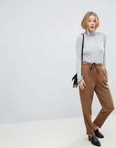 ASOS Woven Peg Pants with OBI Tie Casual Office Outfits for women Miss Louie