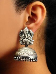 Ganesha Silver Jhumkas