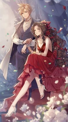 Couple Anime Manga, Chica Anime Manga, Anime Love Couple, Cute Anime Couples, Romantic Anime Couples, Fantasy Couples, Final Fantasy Vii Remake, Artwork Final Fantasy, Final Fantasy 7 Tifa