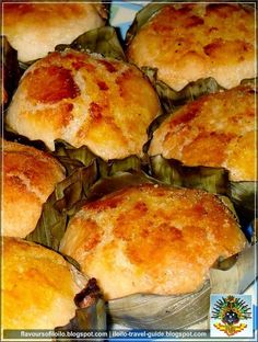 authentic bibingka cake from the Philippines, using glutinous rice flour. Hello Rob Schneider's mom ! (note- use thin strips of coconut, not finely grated or the butter won't stick) Filipino Dishes, Filipino Desserts, Filipino Recipes, Asian Recipes, Filipino Food, Philipinische Desserts, Asian Desserts, Chinese Desserts, Chinese Food