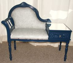 Upcycled BLUE LOUIS XV ROCOCO Wood 1970s VINTAGE Telephone Table- Gothic Romance £240.00