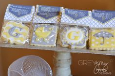 Cookies at a Yellow & Grey Baby Shower!  See more party ideas at CatchMyParty.com!