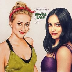 First collab drawing! Here is our drawing of Lili Reinhart by the amazing and Camila Mendes by me! Riverdale Betty And Veronica, Veronica Lodge Riverdale, Betty & Veronica, Riverdale Cw, Riverdale Funny, Riverdale Memes, Betty Cooper, Lili Reinhart, Beautiful Girl Drawing