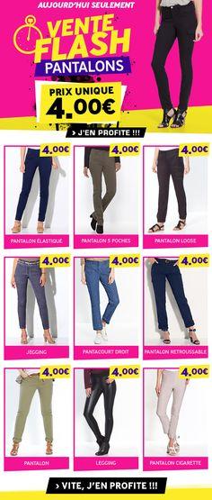 Excedence / newsletter Vente Flash Pantalons à 4€ octobre 2017 / crea DDC