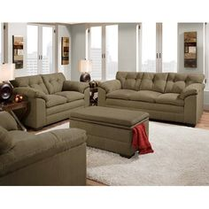 Charmant Velocity Sage Green Fabric Sofa And Loveseat Set   The Simmons Velocity Sage  Microfiber Sofa And