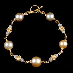 Bracelet Golden Pearls