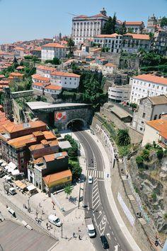 crossing the Luís I Bridge in Porto