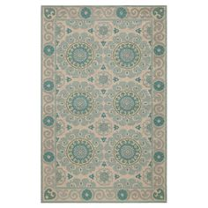 Stylishly anchor your living room or master suite with this lovely hand-hooked wool rug, showcasing an exotic medallion motif in aqua.
