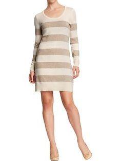 Women's Metallic-Stripe Sweater Dresses   Old Navy