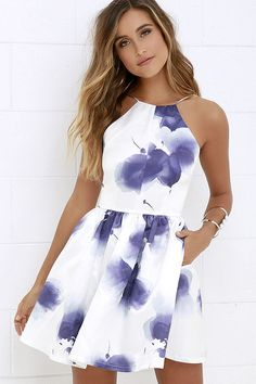 An island beauty deserves an equally stunning wardrobe, which is where the Morning in Mykonos Purple and Ivory Floral Print Dress comes in! Ivory satin fabric, with a whimsical violet floral print, shapes an apron neckline and plunging back, supported by Hoco Dresses, Pretty Dresses, Homecoming Dresses, Beautiful Dresses, Banquet Dresses, Spring Formal Dresses, Semi Casual Dresses, Mini Dresses, Backless Dresses