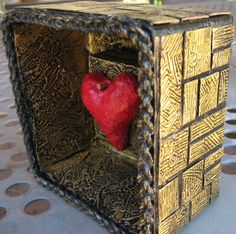 Small 4x4 mixed media Heart Shrine.  Can sit alone or hang on the wall.