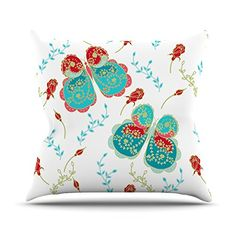 KESS InHouse AS1018BOP03 18 x 18-Inch 'Anneline Sophia Leafy Butterflies Red Aqua Butterfly' Outdoor Throw Cushion - Multi-Colour
