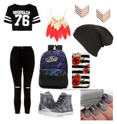 """""""School ready"""" by natasha-maria-louise-mason ❤ liked on Polyvore featuring Boohoo, New Look, Converse, Vans and FOSSIL"""