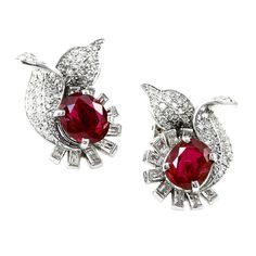 Exceptional No Heat Burma Ruby and Diamond Earrings | From a unique collection of vintage clip-on earrings at https://www.1stdibs.com/jewelry/earrings/clip-on-earrings/