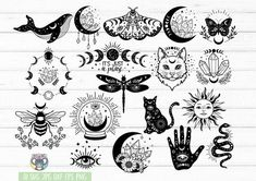Cat Moon, Moon Moon, Free Svg, Moon Silhouette, Silhouette Cameo, 1 Tattoo, Demon Tattoo, Tattoo Flash, Celestial
