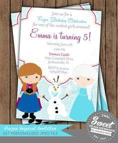Frozen Invitation Princess Anna Elsa Disney Inspired Birthday Party Card Digital Printable DIY on Etsy, $18.21 CAD
