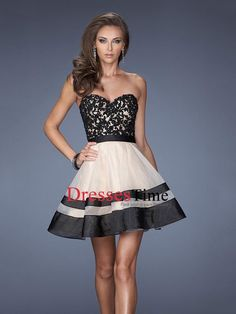 Short Sweetheart Lace Tulle Prom Dress PD2669