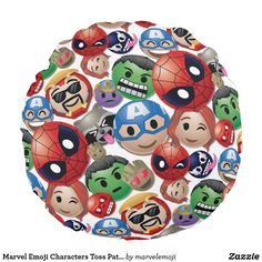 Shop Marvel Emoji Characters Toss Pattern Round Pillow created by marvelemoji. Emoji Characters, Comic Book Characters, Emoji Design, Rocket Raccoon, Big Design, Marvel, Round Pillow, Soft Pillows, Soft Fabrics