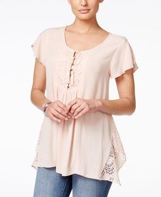 Style & Co. Lace-Inset Crinkle Peasant Top, Only at Macy's