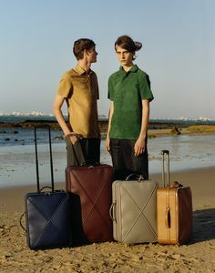 35. Oro goatskin suede polo shirt. Marine and oxblood X-Cross calf leather trolleys. // 36. Emerald goatskin suede polo shirt. Smoke and tan X-Cross calf leather trolleys.