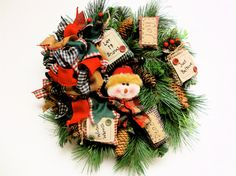 SOLD Christmas Wreath Snowman Rustic Country by SandyNewhartDesigns