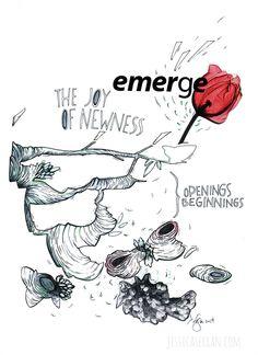 "Emerge, acrylic, ink, press-on-letters on paper, 8.5""x11"", 2014, (c) Jessica Serran."