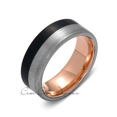 8mm,New,Unique,Brushed Rose Gold,Black Gun Metal,Tungsten Rings,Wedding Band,Unisex,Comfort Fit