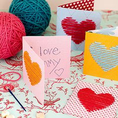 Yarn Heart Cards - this would be fun to try with my 1st graders... I would pre-punch tiny holes and let them do the rest.