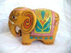 Vintage 1960s Mid Century Mod Pride Creations Elephant Coin Bank Retro Colors | eBay