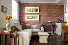 Elegant brick wall idea for living room