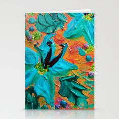 BLOOMING BEAUTIFUL 2 - Modern Abstract Acrylic Tropical Floral Painting, Home Decor Gift for Her Stationery Cards by EbiEmporium - $12.00