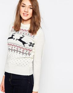 Brave Soul | Brave Soul Snowflake & Reindeer Christmas Jumper at ASOS