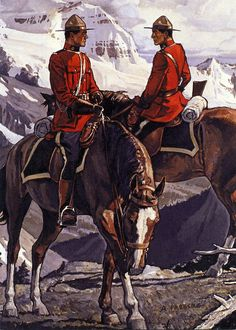 """""""Mounties on patrol exchanging information"""" O Canada, Canada Travel, Canadian Identity, All About Canada, Police, Into The West, Canadian History, Le Far West, Traditional Paintings"""