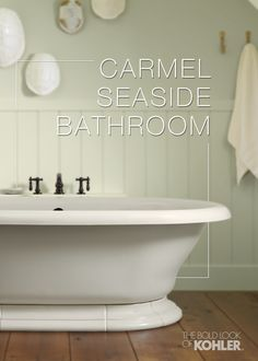 Soft, fresh-from-nature hues mix with warm woods in a bath whose style and sensibility are born of the sea.