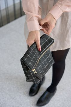 Grid Black Large Clutch Geometric Printed Faux Suede by LeeCoren