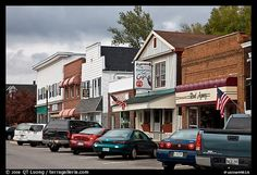 Businesses on main street, Millinocket. Maine, USA (color)