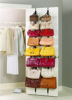 There are many ways keep your bags organized including hanging them on doors, creating special compartments for them in your closet, and even using them as wall decor. Check out these ideas for storing your bags.